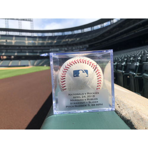 Photo of Game Used Baseball: Pitcher: German Marquez, Batter: Victor Robles (Strike Out Swinging)- 4-24-2019 vs. WAS