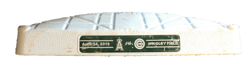 Photo of Game-Used 2nd Base -- Used in Innings 1 through 4 -- Angels vs. Cubs -- 6/3/19
