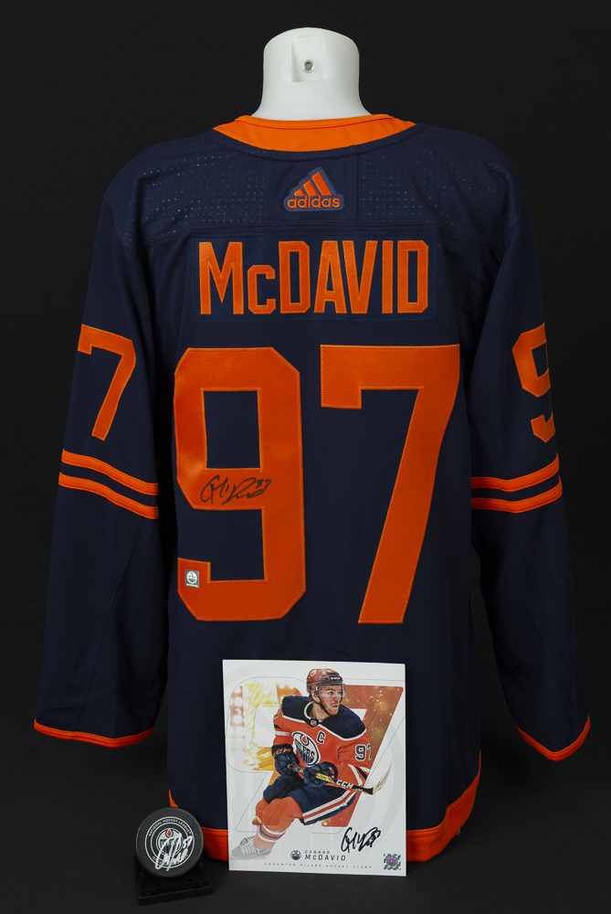 Connor McDavid #97 - Ultimate Fan Autographed Memorabilia Collection Including Pro Jersey, Player Card & Official Game Puck!