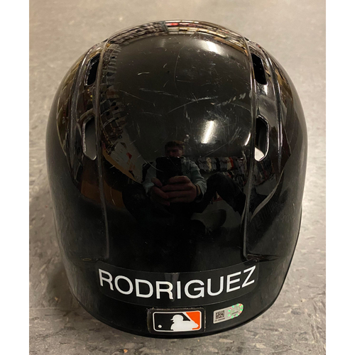 Photo of 2019 Team Issued Spring Training Helmet - used by #57 Dereck Rodriguez - Authenticated on 4/6 vs TB - Size 7 3/8