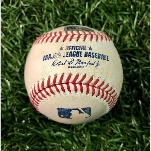 Photo of Game Used Baseball: Aaron Slegers (2.0IP, 2 SO) strikes out Jorge Alfaro - September 5, 2020 v MIA