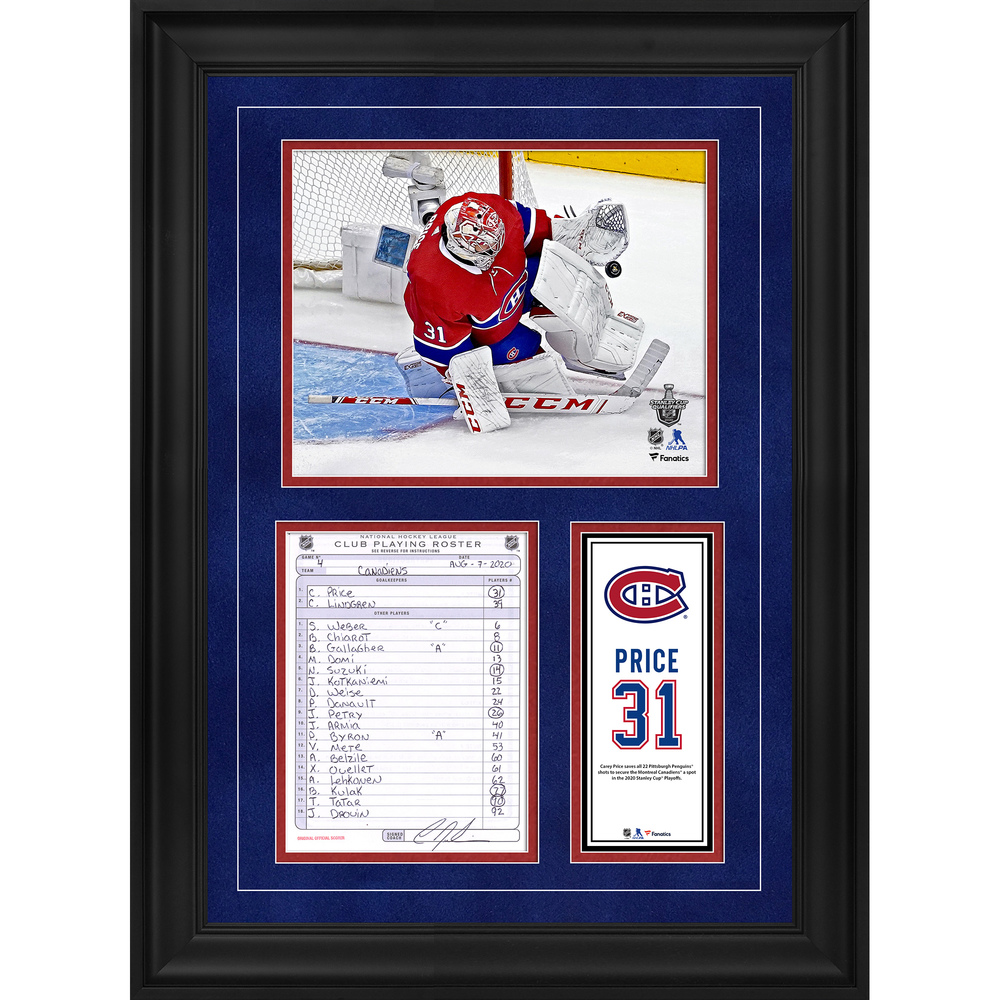 Carey Price Montreal Canadiens Framed Original Line-Up Card from August 7, 2020 vs. Pittsburgh Penguins - Game Four Shutout
