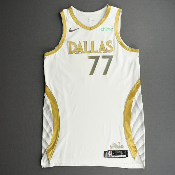 Image of Luka Doncic - Dallas Mavericks - Game-Worn - City Edition Jersey - Worn 2 Games - Recorded a Triple-Double and a Double-Double - 2020-21 NBA Season