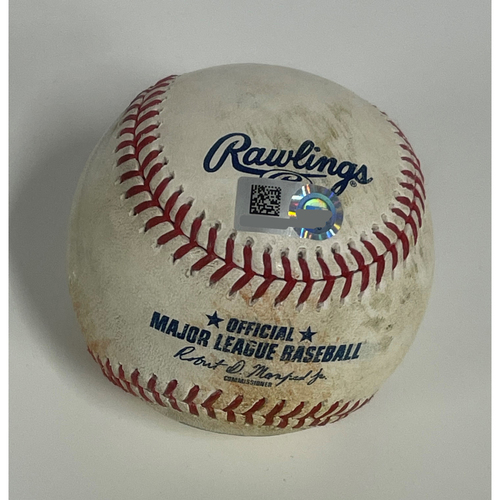 Photo of Game-Used Baseball- Amed Rosario Singles off Derek Holland- 4/9/2021 Tigers at Indians