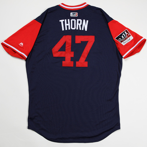 "Photo of Tyler ""Thorn"" Thornburg Boston Red Sox Game-Used 2018 Players' Weekend Jersey"