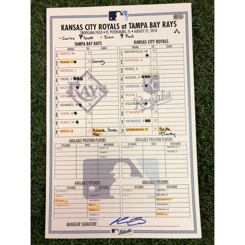 Photo of 2018 Game Used Line Up Card: Tampa Bay Rays v Kansas City Royals - August 21, 2018 - Blake Snell (W, 6.0 IP, 1 ER, 11 SO), Willy Adames (3H, HR)  and Mallex Smith (2H, 2B)