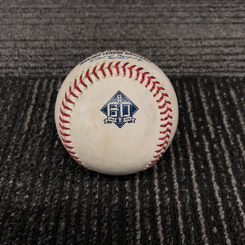 Photo of 2018 San Francisco Giants Game Used Baseball - 9/12/18 vs. Atlanta Braves - T-6: Derek Holland to Freddie Freeman - RBI Single to RF (Ozzie Albies Scores) - 2018 National League Gold Glove