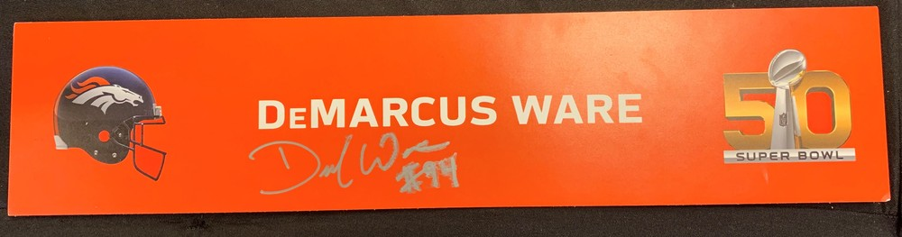 Broncos - DeMarcus Ware signed Super Bowl 50 Locker Room Name Plate