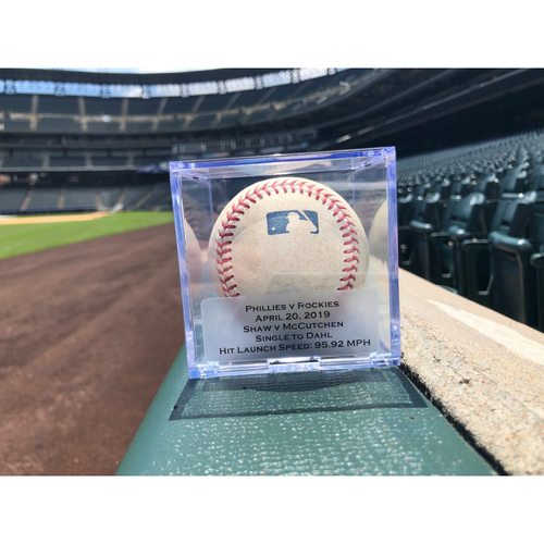 Photo of Game Used Baseball: Pitcher: Bryan Shaw, Batter: Andrew McCutchen (Single)- 4-20-2019 vs. PHI