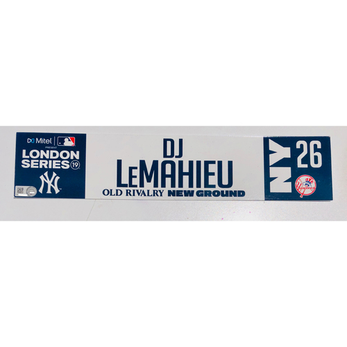 2019 London Series - Game Used Locker Tag - DJ LeMahieu, New York Yankees vs Boston Red Sox - 6/30/2019