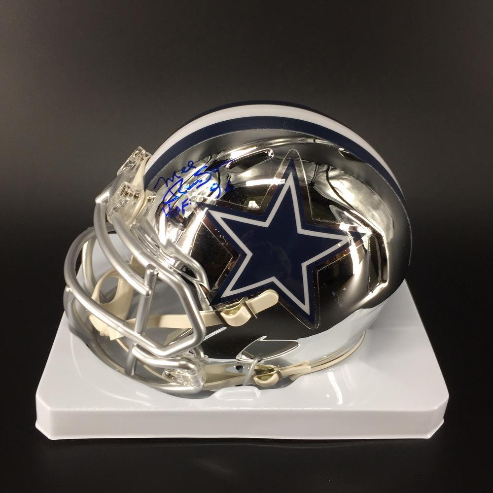 HOF - Cowboys Mel Renfro Signed Chrome Mini Helmet