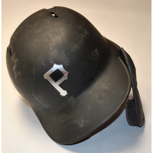 "Photo of Kevin ""NEWMS"" Newman Pittsburgh Pirates Game-Used 2019 Players' Weekend Helmet"
