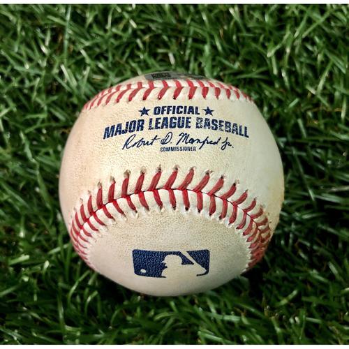 Game Used Baseball: Pete Fairbanks (1.1IP, 1 SO) strikes out Jesus Aguilar - September 6, 2020 v MIA