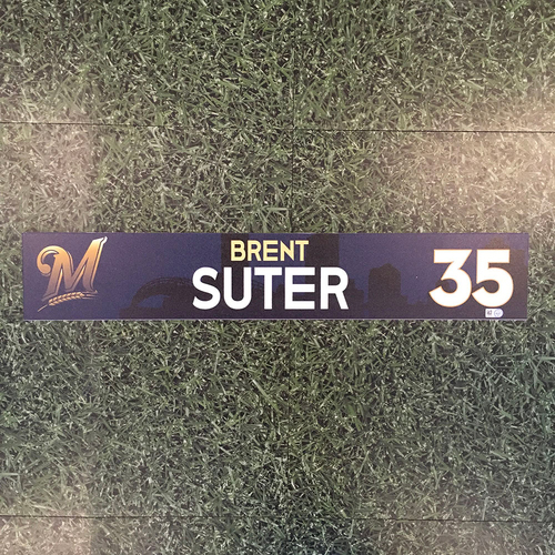 Photo of Brent Suter 2018 Team-Issued Locker Nameplate