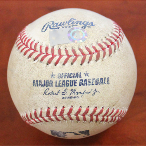 Photo of Game-Used Baseball: Pitcher - Chris Bassitt | Batter - Jose Altuve Walk & Michael Brantley 2B - Top 4 - Opening Day 4/1/21 vs HOU