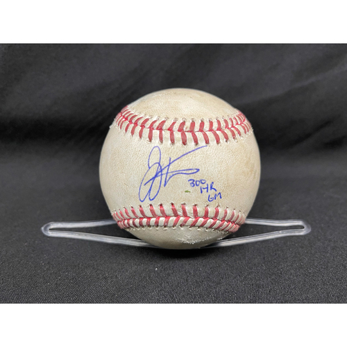 Photo of Joey Votto *Game-Used, Autographed & Inscribed* Baseball from 300th Career HR Game - Lucas Sims to Kris Bryant (Ball in Dirt) -- 04/30/2021 - CHC vs. CIN - Top 9