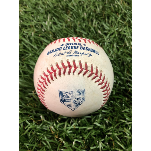 Photo of 20th Anniversary Game Used Baseball: Albert Pujols single and David Fletcher foul ball off Sergio Romo - July 31, 2018 v LAA