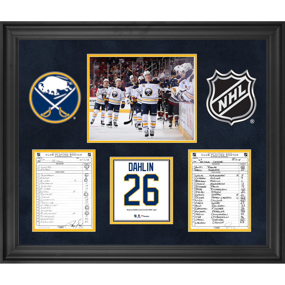 Buffalo Sabres Framed Original Line-Up Cards from October 13, 2018 vs. Arizona Coyotes - Rasmus Dahlin First NHL Goal