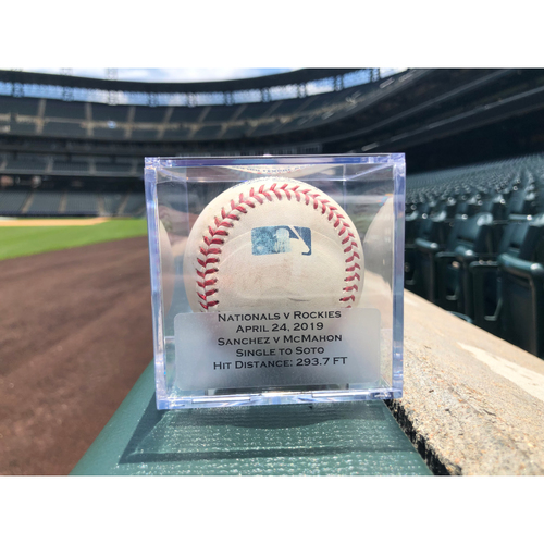 Photo of Game Used Baseball: Pitcher: Anibal Sanchez, Batter: Ryan McMahon (Single)- 4-24-2019 vs. WAS