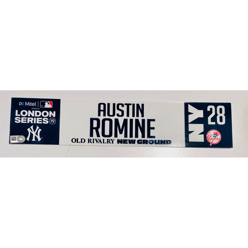 Photo of 2019 London Series - Game Used Locker Tag - Austin Romine, New York Yankees vs Boston Red Sox - 6/30/2019