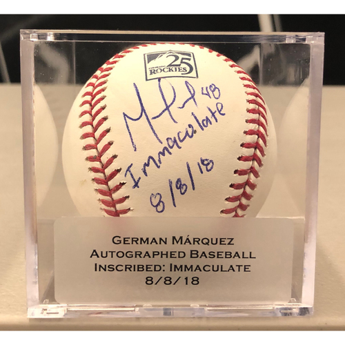 """Photo of Colorado Rockies 25th Anniversary Autographed and Inscribed German Marquez Baseball (""""Immaculate Inning: 8/8/18"""")"""