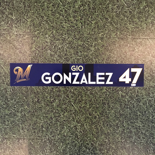 Photo of Gio Gonzalez 2018 Team-Issued Locker Nameplate