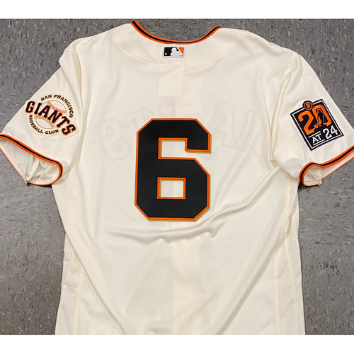 Photo of 2020 Team Issued Home Cream Jersey - #6 Steven Duggar - Size 44