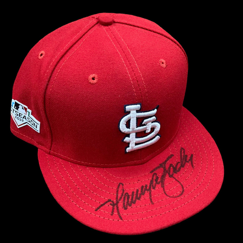 Photo of Harrison Bader Autographed Team Issued Home Cap w/ 2019 Postseason Patch (Size 7 1/2)