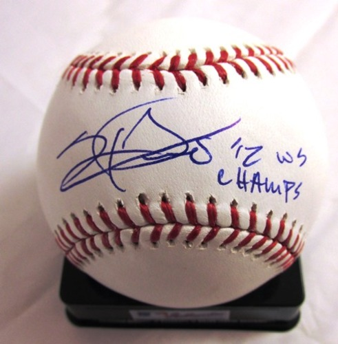 "Photo of Sergio Romo Autographed ""2012 WS Champs"" Baseball"