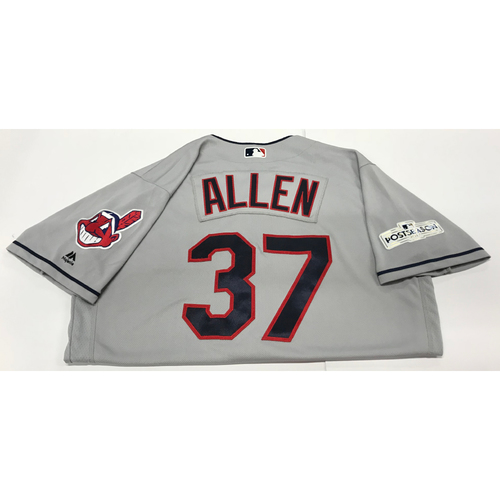 Photo of Cody Allen Team-Issued 2017 Postseason Road Jersey