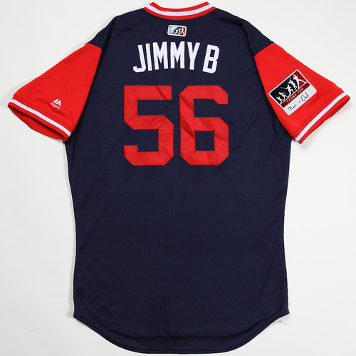 "Photo of Joe ""Jimmy B"" Kelly Boston Red Sox Game-Used 2018 Players' Weekend Jersey"