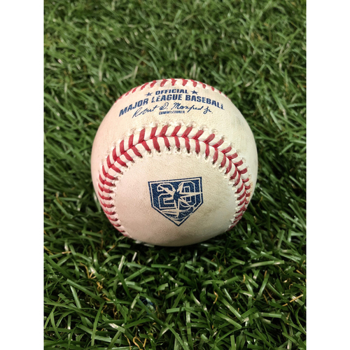 Photo of 20th Anniversary Game Used Baseball: Giancarlo Stanton 2RBI (Gardner and Judge) single and Aaron Hicks foul ball off Ryne Stanek - July 23, 2018 v NYY