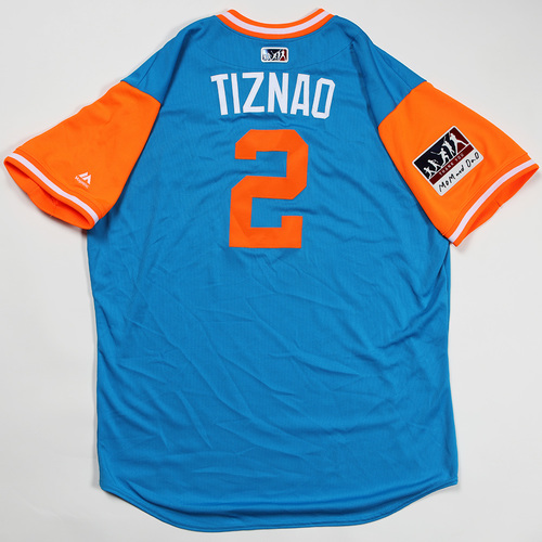"Photo of Yadiel ""Tiznao"" Rivera Miami Marlins Game-Used Jersey 2018 Players' Weekend Jersey"