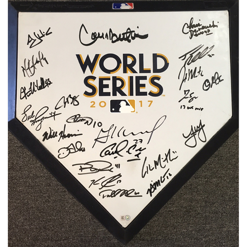 Photo of World Series 2017 Logo Autographed Astros Home Plate - (22 Signatures)