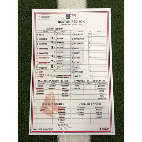 Photo of Red Sox Foundation - Spring Training Line-Up Card vs Houston Astros 3-24-18 - Not MLB Authenticated