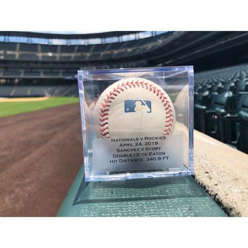 Photo of Game Used Baseball: Pitcher: Anibal Sanchez, Batter: Trevor Story (Double)- 4-24-2019 vs. WAS