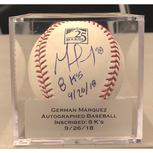 """Photo of Colorado Rockies 25th Anniversary Autographed and Inscribed German Marquez Baseball (""""8 K's: 9/26/18"""")"""