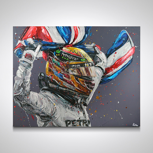 Photo of Lewis Hamilton 2017 World Champion - Paul Oz Hand Embellished Canvas
