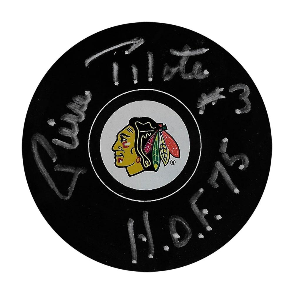 Pierre Pilote Autographed Chicago Blackhawks Puck w/HOF 75 Inscription