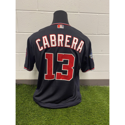 Photo of Game-Used Asdrubal Cabrera Navy Script Jersey - Worn World Series Games 1, 2, 5, 6 and 7
