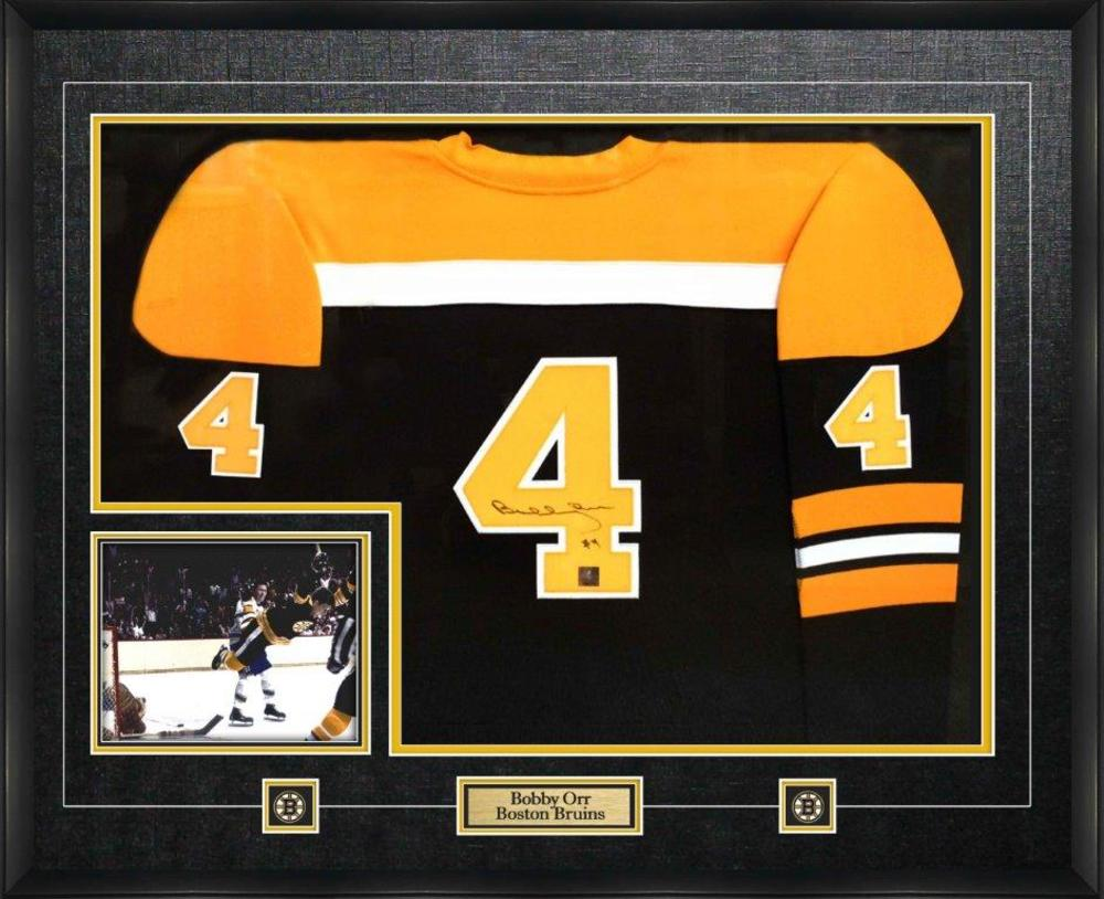 Bobby Orr - Signed Framed Jersey Boston Bruins Mitchell and Ness Replica Dark
