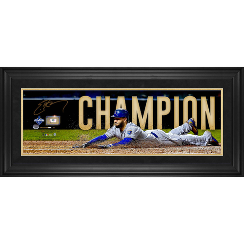 "Photo of Eric Hosmer Kansas City Royals 2015 MLB World Series Champs Framed Autographed 10"" x 30"" Pano with a Piece of 2015 World Series Game-Used Baseball - L. E. of 100"