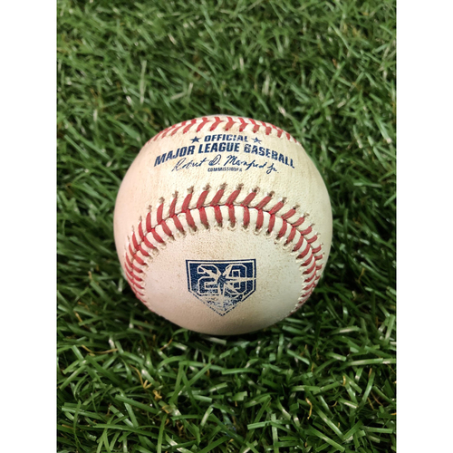 Photo of 20th Anniversary Game Used Baseball: Giancarlo Stanton double off Wilmor Font - June 23, 2018 v NYY