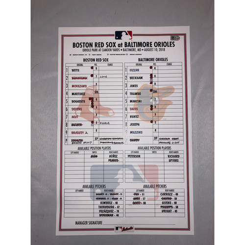Photo of Red Sox at Orioles - August 10, 2018 Game-Used Lineup Card - Red Sox Win 19 to 12