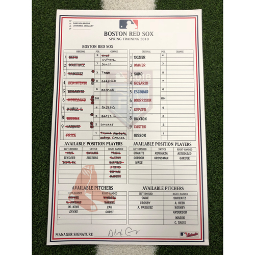 Photo of Red Sox Foundation - Spring Training Line-Up Card @ Twins 3-25-18 - Not MLB Authenticated