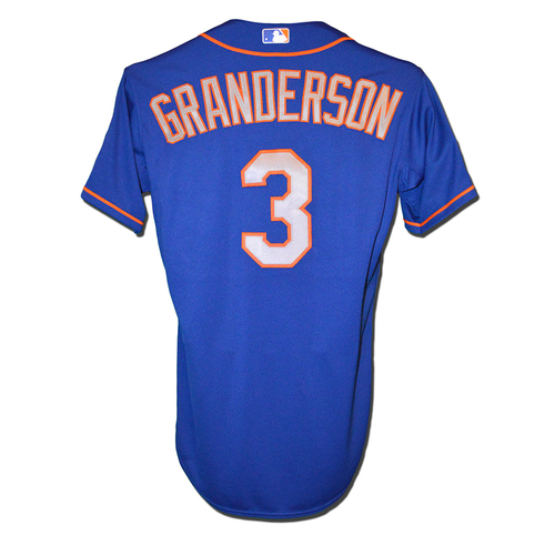 Photo of Curtis Granderson #3 - Team Issued Blue Alt. Road Jersey - 2015 Postseason
