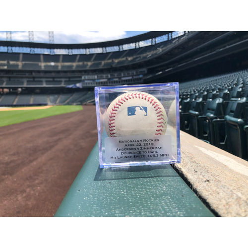 Photo of Game Used Baseball: Pitcher: Wade Davis, Batter: Ryan Zimmerman (Double)- 4-22-2019 vs. WAS
