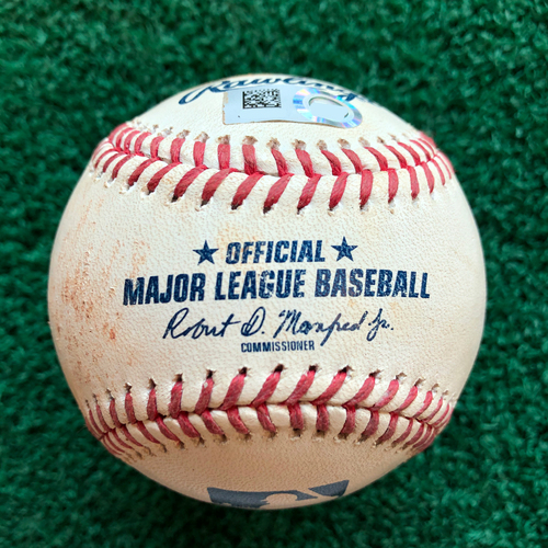 Photo of Game Used Baseball: Pitcher: Josh James, Batter: Rowdy Tellez - Ball - Top 9 - 6-15-2019 vs. TOR