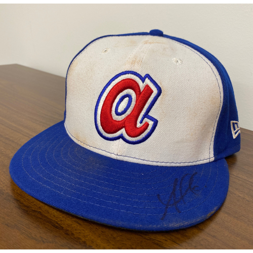 Photo of Ozzie Albies MLB Authenticated Autographed Game Used 1974 Hat (Size 7 1/4) - Used 8/3/2019 vs. CIN
