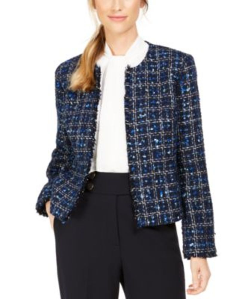 Photo of Calvin Klein Petite Tweed Open-Front Jacket
